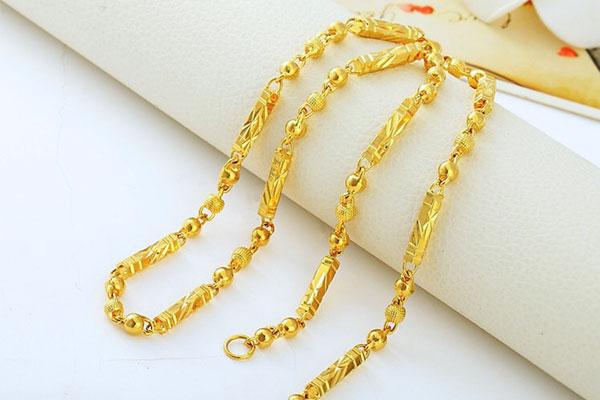 黄金首饰佛珠链